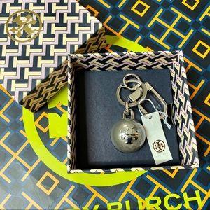 NIB Tory Burch Silver Pearl Keychain